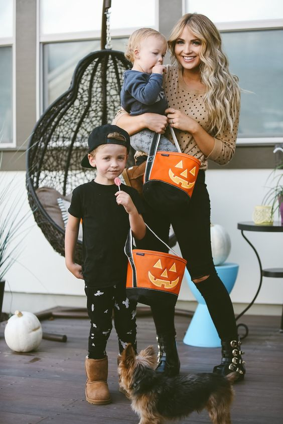 """Cara Loren and her little ones had a practice trick or treat with their Lands' End Halloween totes! -- """"They are glow in the dark and he keeps it in his room every night so he can see it light up."""""""