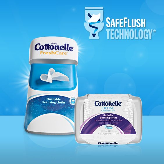 Get a confident clean AND peace of mind with Cottonelle Flushable Wipes – they feature new SafeFlush Technology, so they start to break down immediately after flushing.