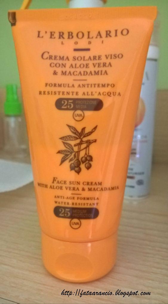 L'Erbolario-Crema Solare Viso Anti-Tempo SPF25 con Aloe Vera & Macadamia review fataarancio