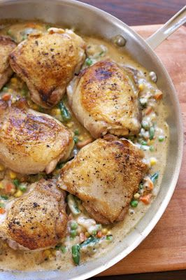Simple Chicken Fricassee: http://www.simplelivingeating.com/2016/04/simple-chicken-fricassee-weekly-menu.html #chickenrecipes