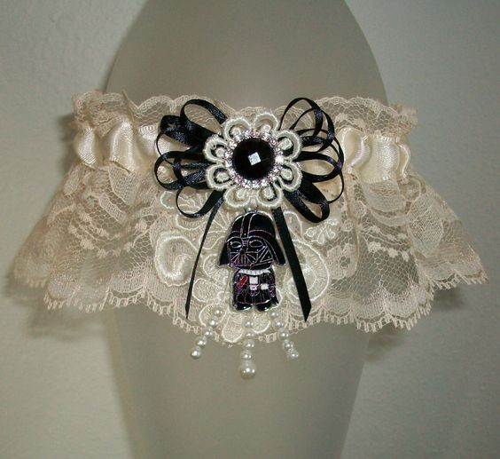 Darth Vader Star Wars Black and Champagne Cream Lace Wedding Garter Rhinestone Sparkle Pearl Shimmer SciFi R2D2 Jedi Skywalker Fun Prom 2017 by JazziGenShoppe on Etsy