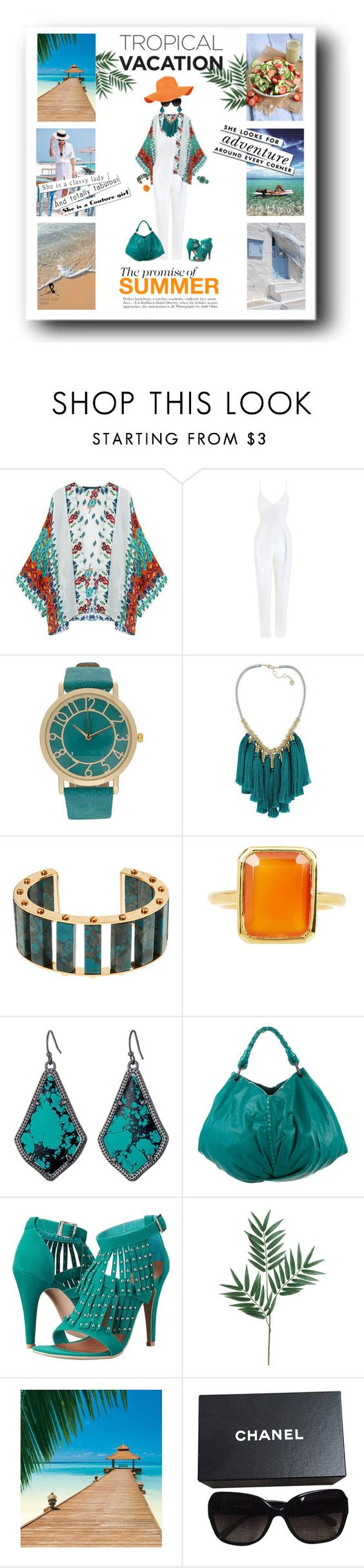 """""""Tropical Dreams"""" by quicherz on Polyvore featuring Zimmermann, French Connection, Lele Sadoughi, Savvy Cie, Kendra Scott, Bottega Veneta, Penny Loves Kenny, Le Specs, Kate Spade and Chanel"""