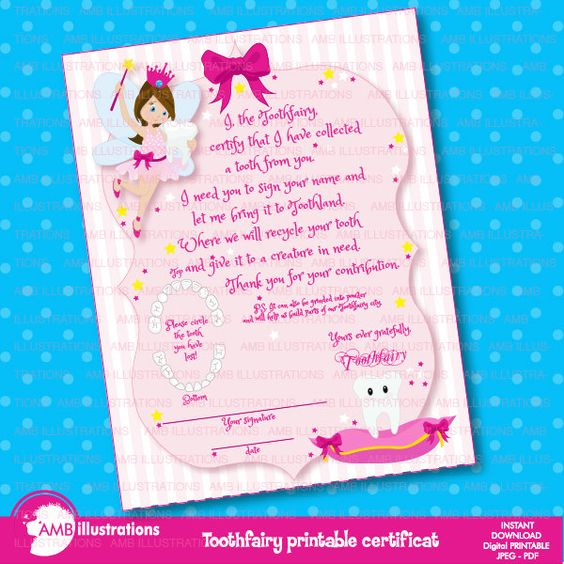 80%OFF Tooth fairy certificate Printable certificate toothfairy certificat lost a tooth certificat instant download AMB-940