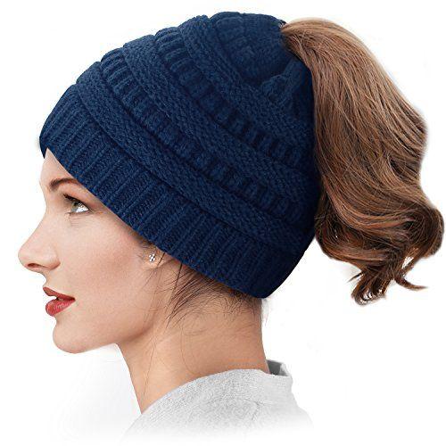 Damen Stretch Winter Strickmütze Messy Bun Pferdeschwanz Beanie Hüte Schirmmütze