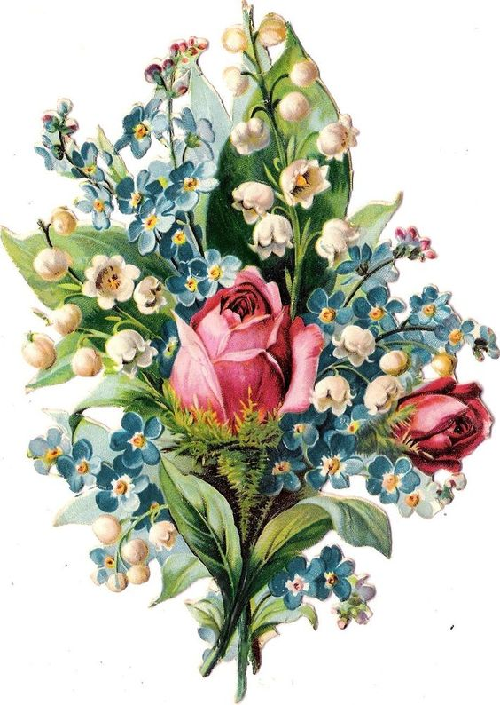 Oblaten Glanzbild scrap die cut chromo Blumen Strauß  16,5cm  lily of valley: