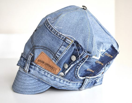 Recycled denim jeans made into a newsboy hat by Kazz | Kazzthespazz.com