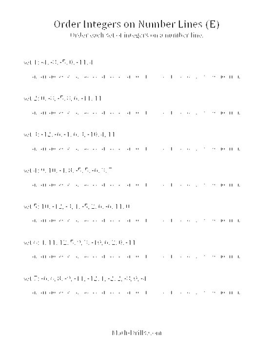 Free Math Worksheet -- Ordering Integers on a Number Line (E ...