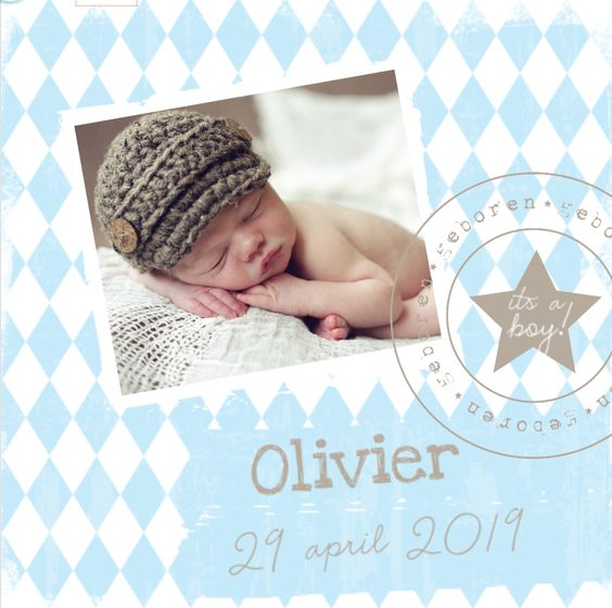 Super gaaf geboortekaartje voor een jongen. Met een blauw ruit patroon, foto kader, stempel en hippe krijt vegen. Beetje vintage look!