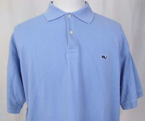Vineyard Vines Polo Shirt XL 100% Cotton Blue Solid Whale Golf Sport Shep Ian  #vineyardvines #PoloRugby