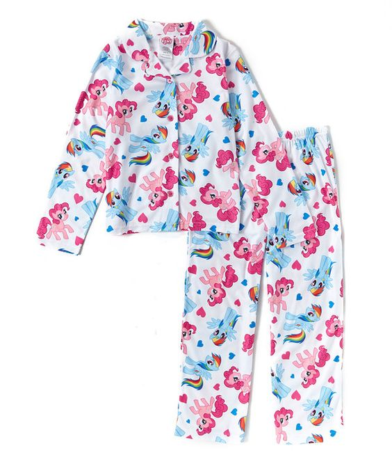 My Little Pony White My Little Pony Button-Up Pajama Set - Girls ...