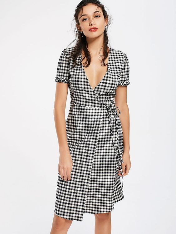 Checked Ruffles Wrap Casual Dress CHECKED: Midi Dresses M | ZAFUL