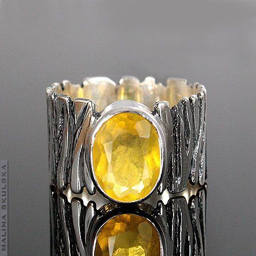 pierścionek,srebrny,oksydowany,zebra,opal - Pierścionki - Biżuteria