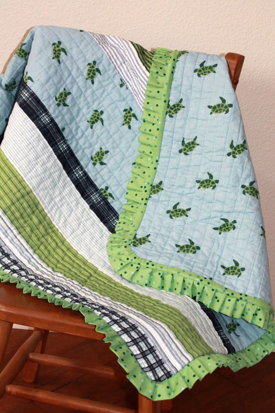 Baby Quilt Sea Turtles Pale Blue and Green Crib Quilt by MyLilBaby