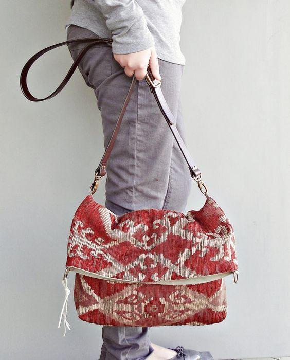 Aztec Bag - Southwest Tribal Purse - Southwestern  Messenger Bag - Custom Length Leather Strap . (no11)