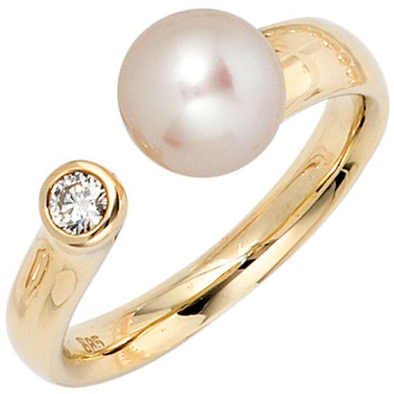 Details zu Damen Ring 585 Gold Gelbgold Süßwasser Perle Diamant