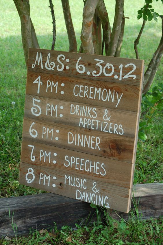 Reception Schedule Itinerary Menu Board