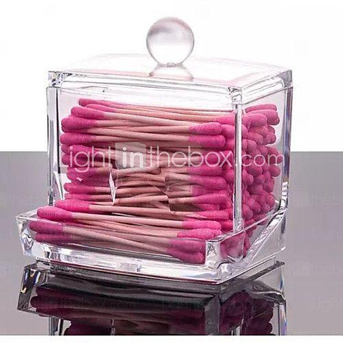2016 acrílico organizador de la caja hisopo de algodón de casos portador de cosmético, Q-Tip de almacenamiento de maquillaje carretes 2016 - $6.99