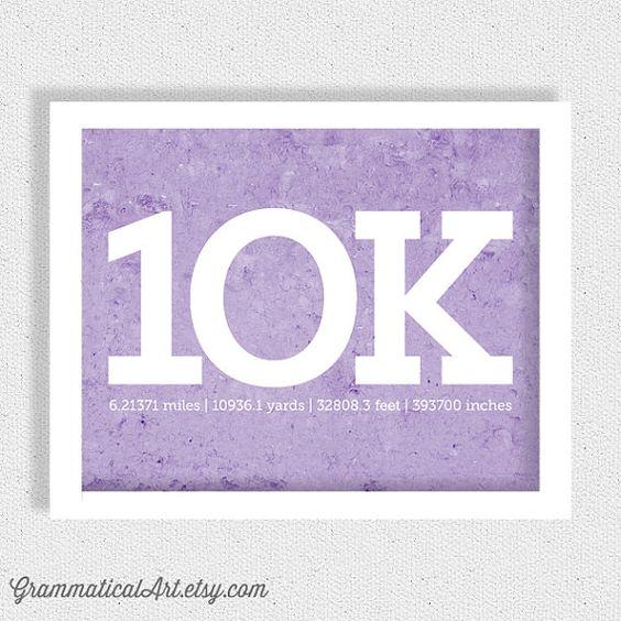 10k Running Print Running Poster Runner Girl 10k by GrammaticalArt, $18.00