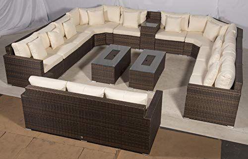 Incredible Giardino Santorini Large 13 Seater Brown Rattan Sofa Set Theyellowbook Wood Chair Design Ideas Theyellowbookinfo