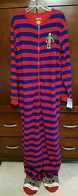 NWT Nick and Nora Red Blue Striped Footed Pajamas Onsie Sock Monkey Womens XL