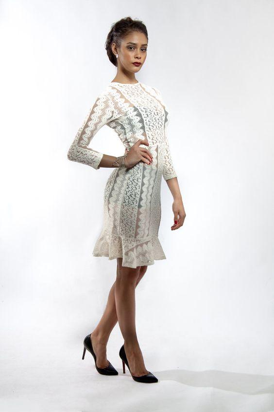 Kimbella Lace Ruffle Midi Dress by GayaZahariCouture on Etsy, $209.00