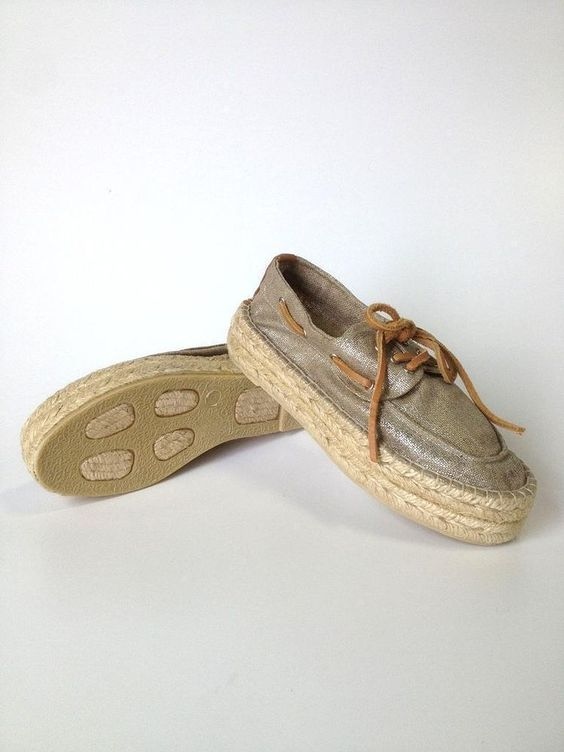 NEW Tory Burch Khaki Gold Metallic Blanton Espadrille Flat Loafer Shoe Size 5