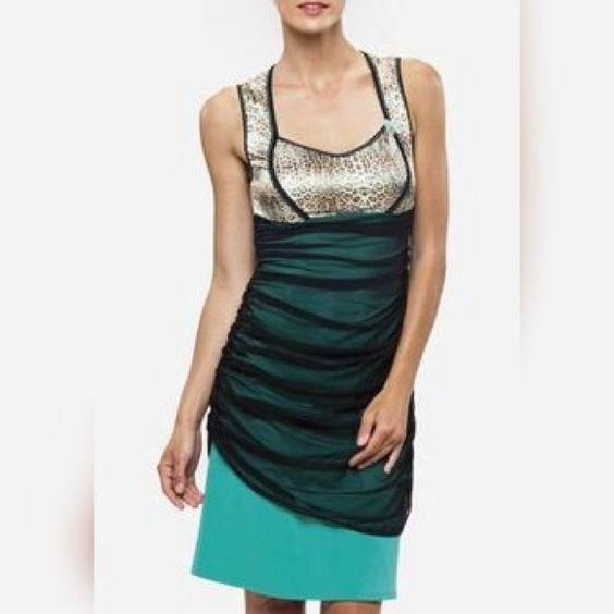Kollontai Dress Green Dress with Leopard Print Top and Black Mesh overlay!  75% poly 20% Nylon 5% Elastane Kollontai Dresses