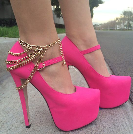 Hot pink heels with gold chain | Head Over Heels ❤ | Pinterest