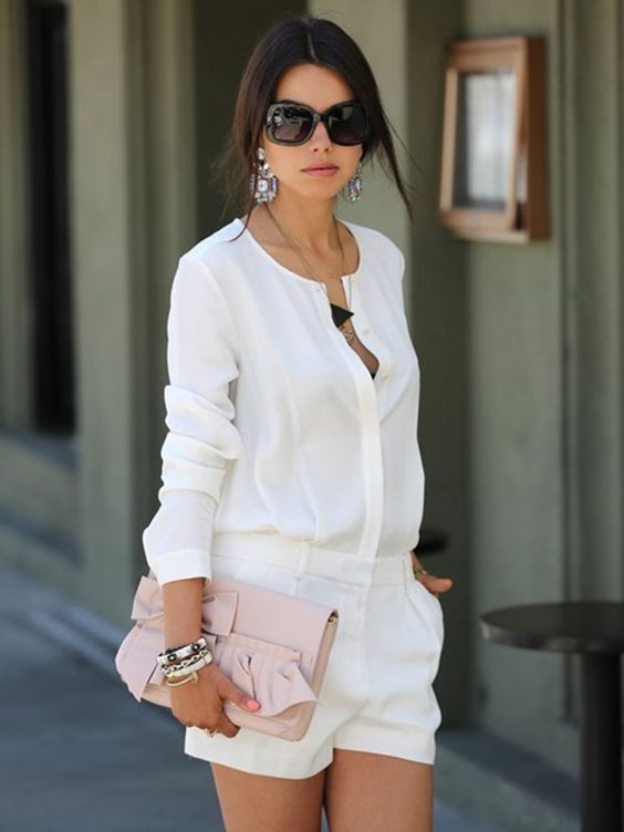 white on white, shorts and blouse!!! Fabulous...but with a messy little boy;)
