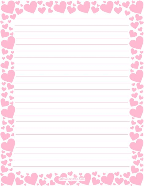 Printable pink heart stationery and writing paper. Multiple ...