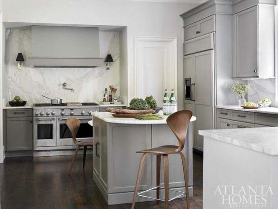 Atlanta Homes & Lifestyles - kitchens - gray kitchen, monochromatic gray kitchen, gray kitchen cabinets, gray kitchen cabinetry, multi level...
