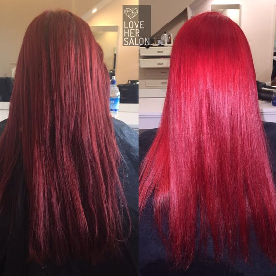 love her salon: Good girls gone bad  double tap if you lurrve  FIRE hot hair!! ❤️❤️ Rihanna Red inspired colour  #rihanna #badgirlriri #lovehersalon #pravana