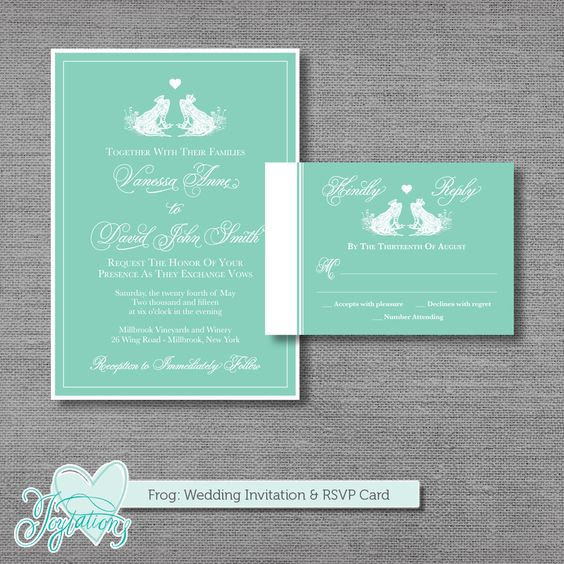 PRINTABLE - Frog - Wedding Invitation and RSVP Card by Joytations ...