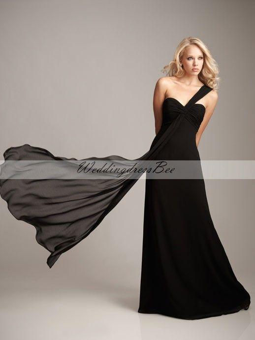 One shoulder chiffon bridesmaid dress with empire waist $137.20: White Wedding, Wedding Dress, Black Bridesmaid, Bridesmaid Gowns, Black Dress, Chiffon Bridesmaid Dresses