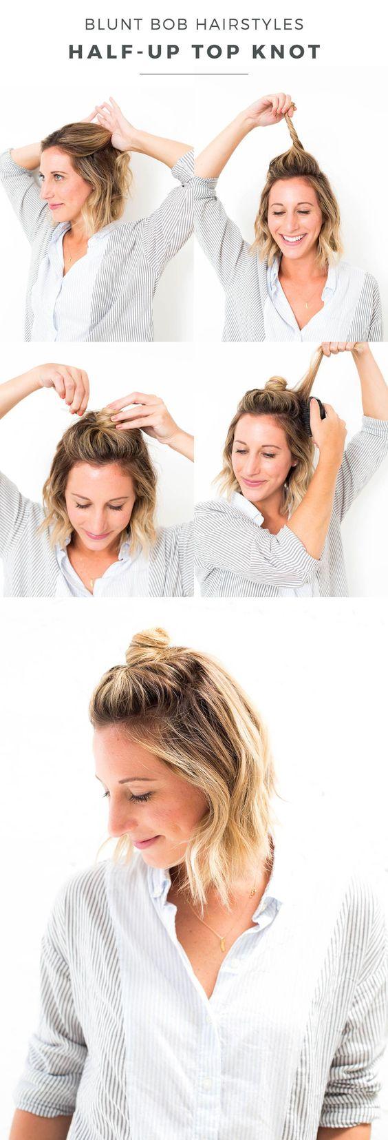 blunt bob half-up top knot hair tutorial, blunt bob hairstyle, short hair style, blunt bob haircut, short layers