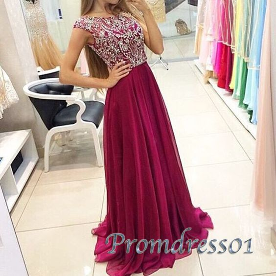 Modest prom dress, homecoming dress, beautiful round wine red chiffon neck sequins prom dress for teens ---> http://tipsalud.com