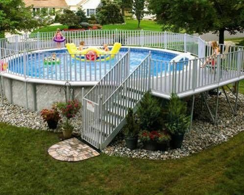 Landscaping Around Above Ground Pool Google Search I Like The Idea Of The R Above Ground Pool Landscaping Above Ground Swimming Pools Above Ground Pool Decks