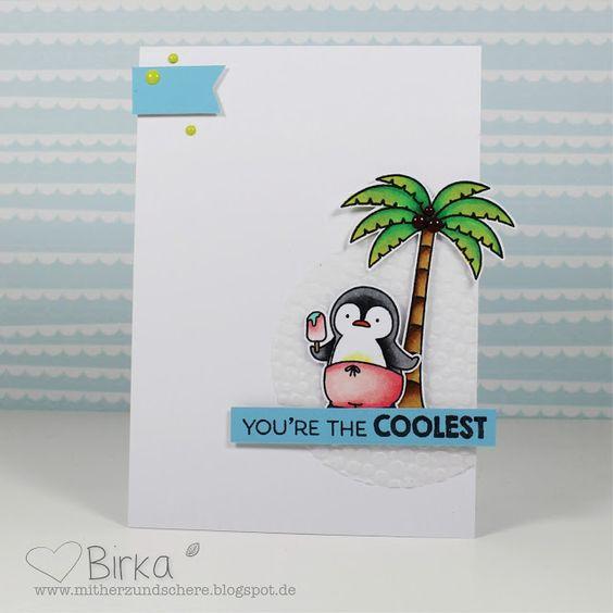 Mit Herz und Schere: Sommerkarte mit Pinguin und Palme (My Favorite Things)