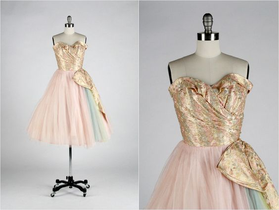 r e s e r v e d // Vintage 1950s Dress . Pink Tulle . Floral . Metallic . Brocade . Strapless . Bow . Rainbow . Shirred . XS/S/M . 1631. $245.00, via Etsy.