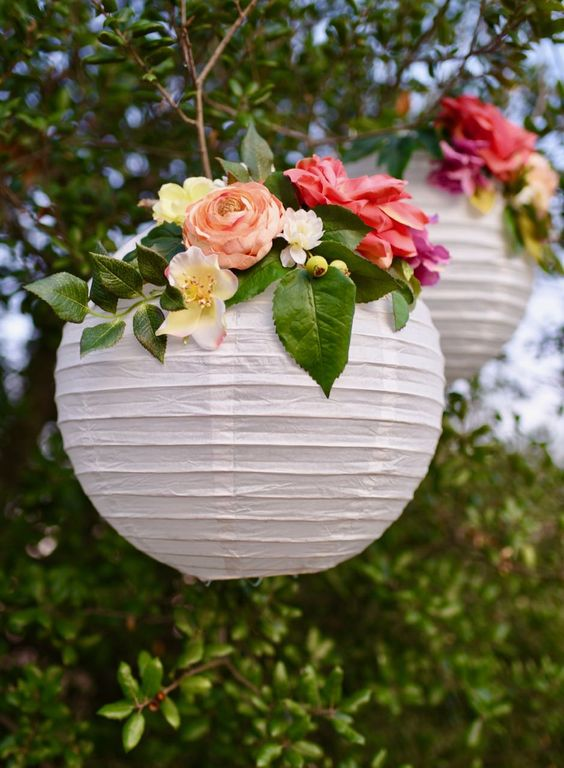 DIY flower paper lanterns tutorial. Make these simple party decorations for showers, weddings, birthday parties, and more!