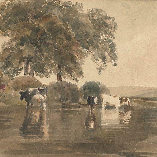 Cows In A Pool By Peter De Wint Fine Art Giclee Prints Cow