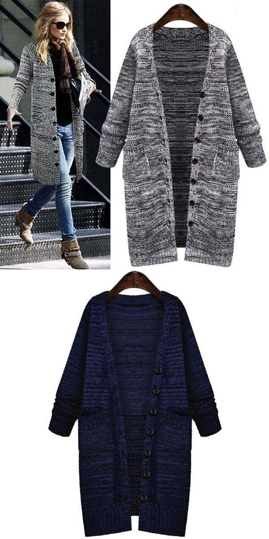 Fashion Single Breasted Long Cardigan Sweater Coats