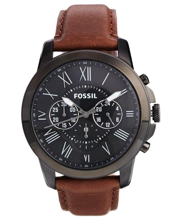image 1 fossil grant fs4885 montre chronographe avec bracelet en cuir marron objects. Black Bedroom Furniture Sets. Home Design Ideas