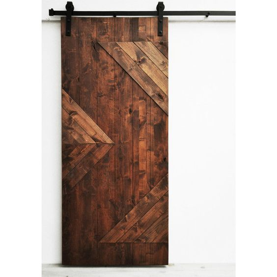 Dogberry Zig Zag 36 x 82 inch Barn Door with Sliding Hardware System ($967) ❤ liked on Polyvore featuring home, home improvement, storage & organization and brown