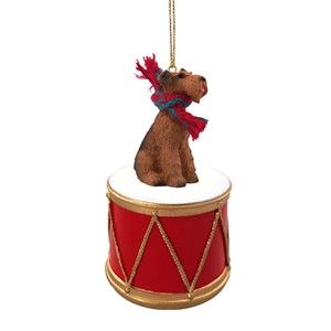 Raining Cats and Dogs | Airedale Drum Christmas Ornament