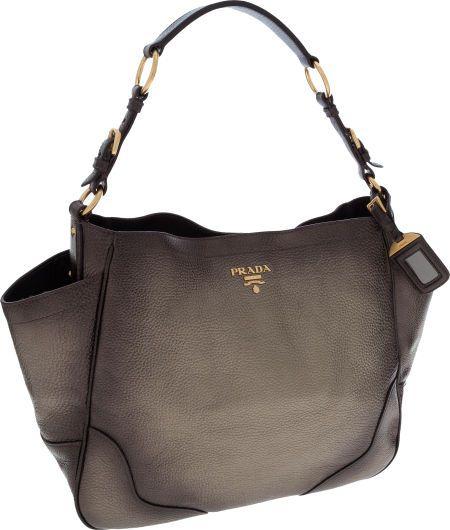 prada metallic leather handbag