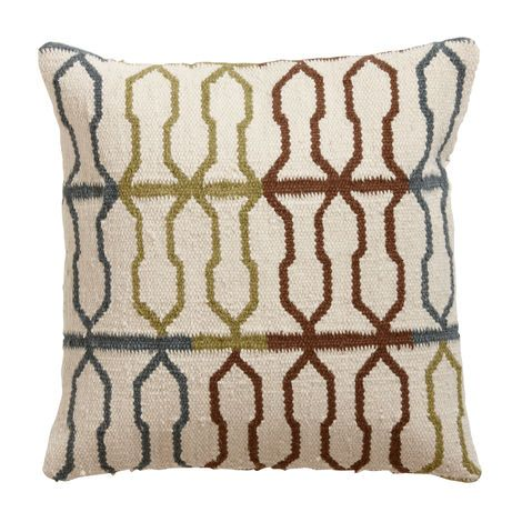Multicolor Fretwork Wool Pillow