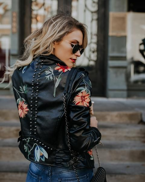 Bowie Embroidered Vegan Leather Moto Jacket Vegan Leather Moto Jacket