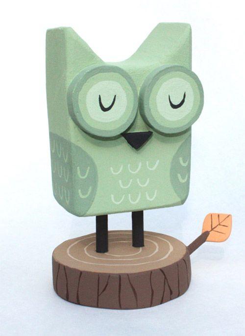 owl sculpture in mint green