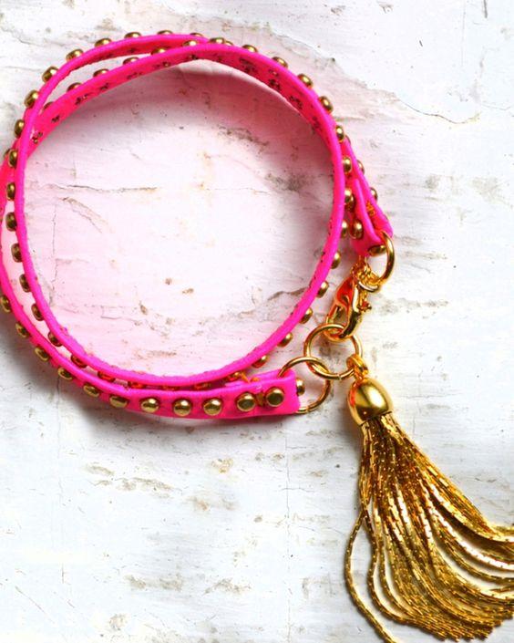 Pink Studded Tassel Bracelet